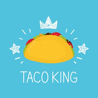 Mexican taco with stars and crown