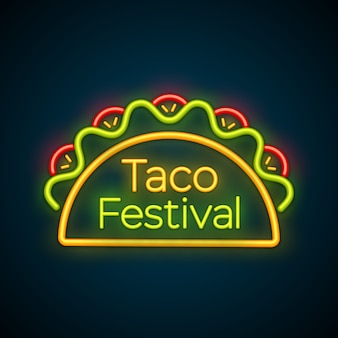 Mexican tacos food bar neon light sign logo