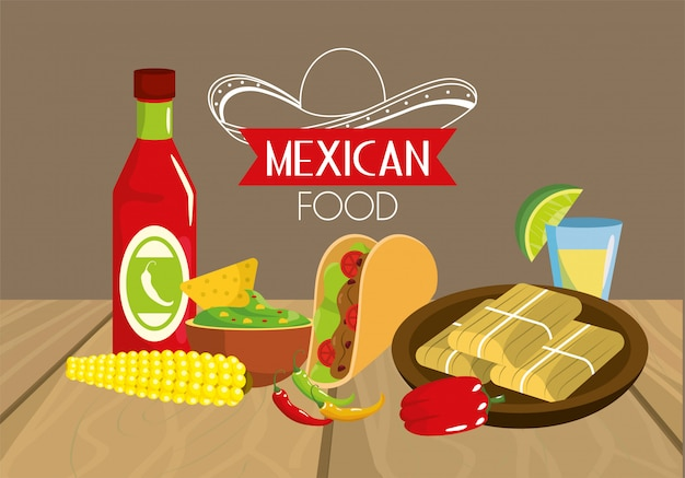 Mexican tacos food with sauces and cob