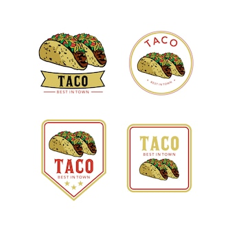Mexican tacos with meat, vegetables and red onion logo design premium template stock