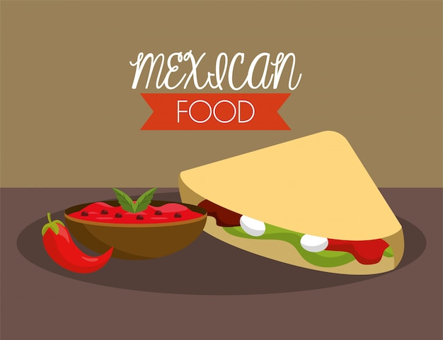 Mexican tacos with spicy chili sauce