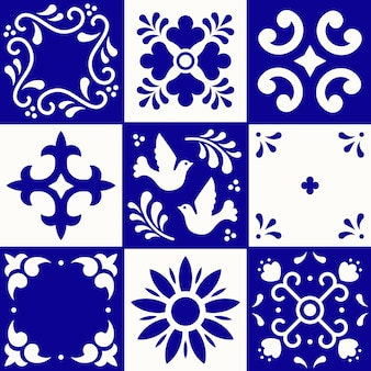 Mexican talavera pattern. ceramic tiles in traditional style from puebla. mexico floral mosaic in blue and white. folk art .