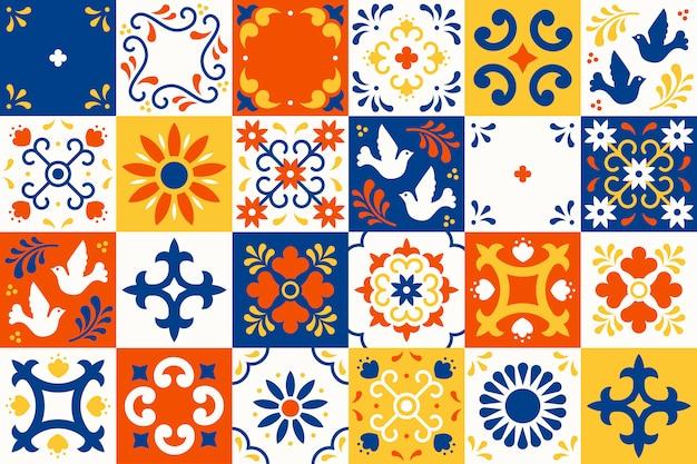 メキシコのタラベラパターン。プエブラの伝統的なマジョリカスタイルの花、葉、鳥の装飾が施されたセラミックタイル。クラシックなブルーとホワイトのメキシコの花柄モザイク。民芸デザイン。