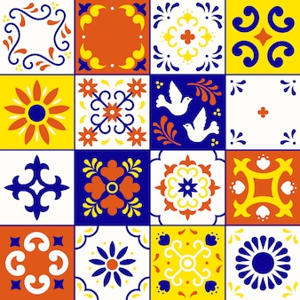 Mexican talavera pattern. tiles ornaments in traditional style from puebla. mexico floral mosaic