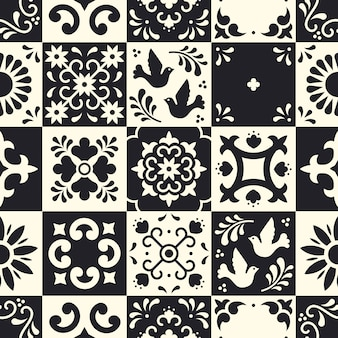 Mexican talavera seamless pattern. ceramic tiles with flower, leaves and bird ornaments in traditional majolica style from puebla.
