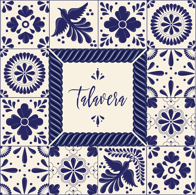 Mexican talavera style copy space composition