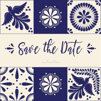 Mexican talavera style save the date card