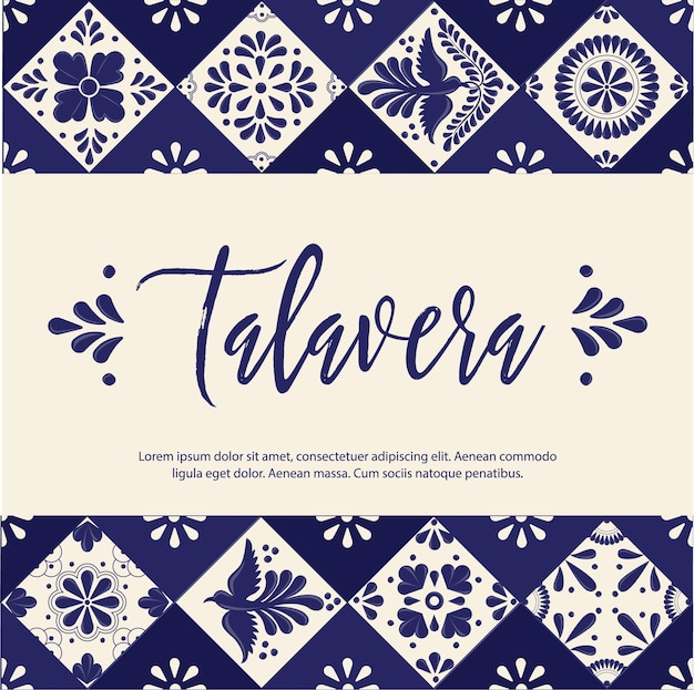 Mexican talavera tiles banner template