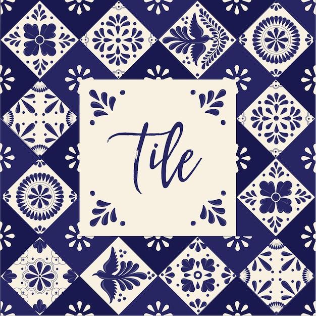 Mexican talavera tiles - copy space composition