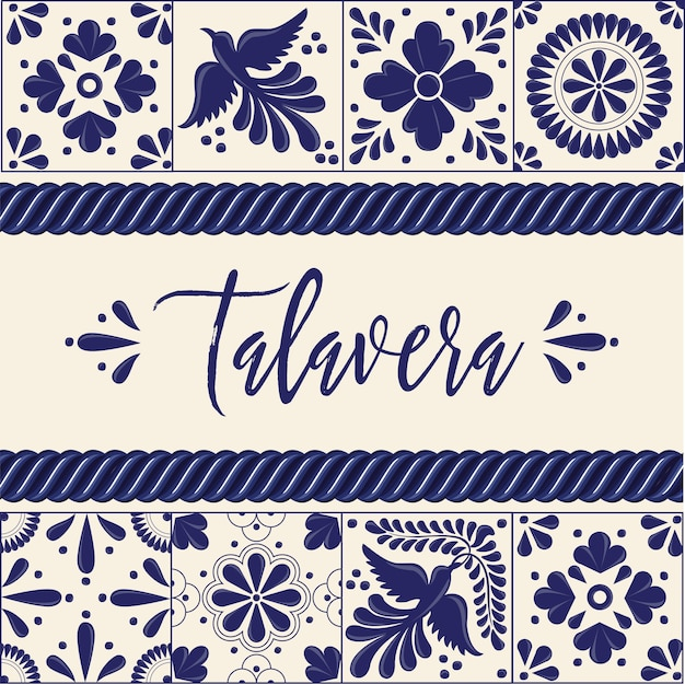 Mexican talavera tiles - copy space composition