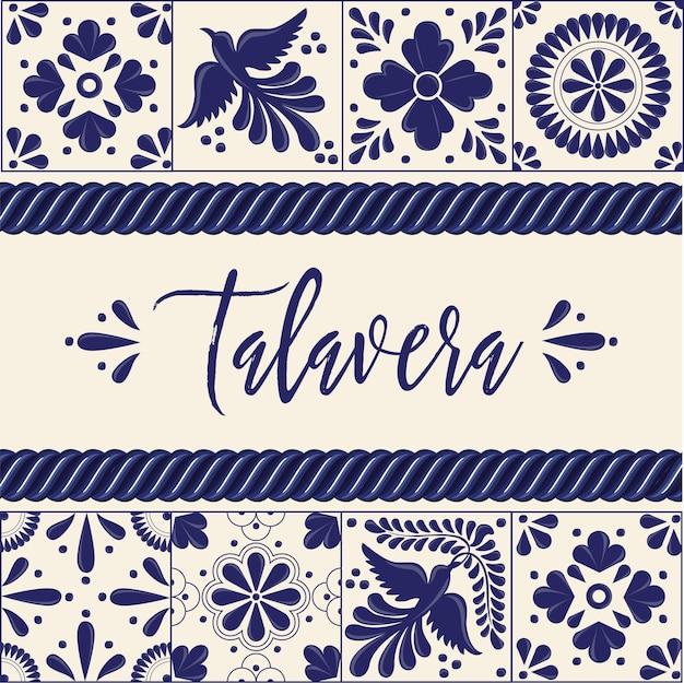 メキシコのタラベラタイル-コピースペースの構成