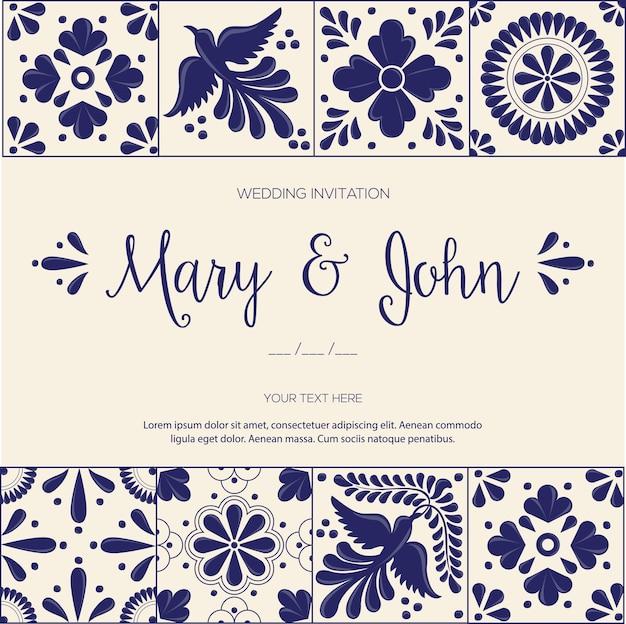 結婚式の招待状のためのメキシコのタラベラタイル