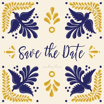 Mexican talavera tiles save the date card template