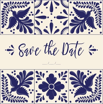 Mexican talavera tiles - save the date card template
