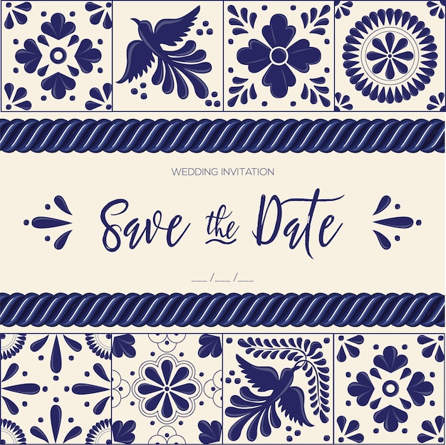 Mexican talavera tiles save the date card