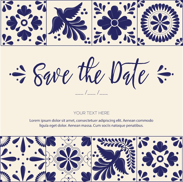 Mexican talavera tiles save the date invitation template