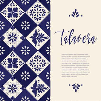 Mexican talavera tiles - vertical banner template