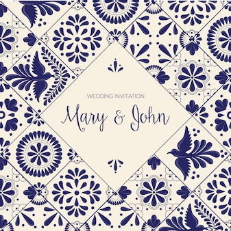 Mexican talavera tiles - wedding invitation