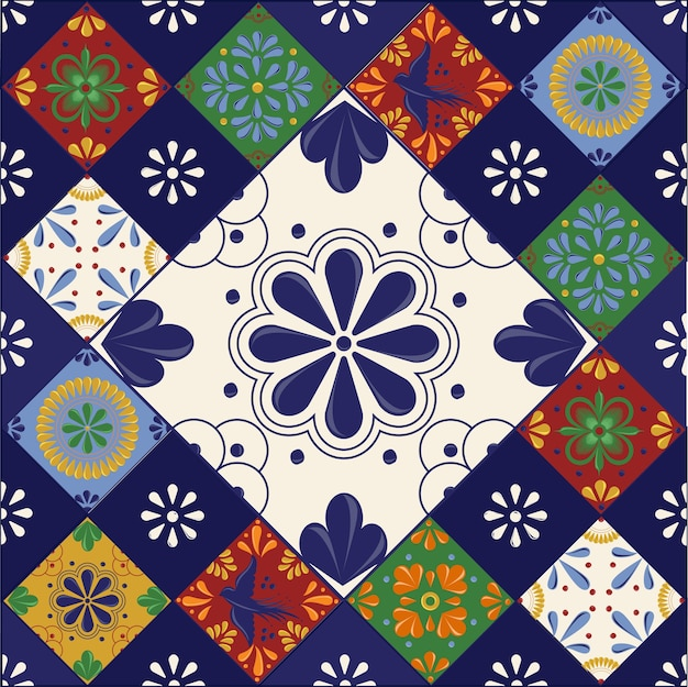 Mexican talavera tiles with colorful shapes