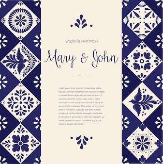 Mexican talavera wedding invitation