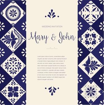 メキシコのタラベラの結婚式の招待状