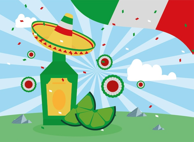 멕시코 데킬라와 깃발