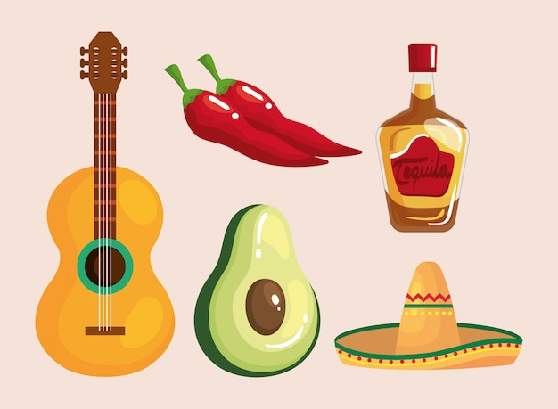 Mexican tequila bottle hat avocado guitar and chillis