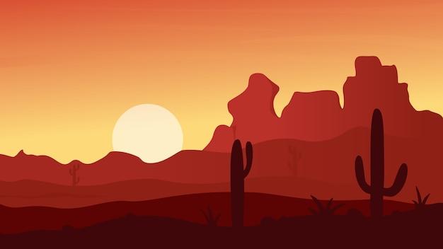 日没時のメキシコ、テキサス、またはアリゾナの砂漠の風景