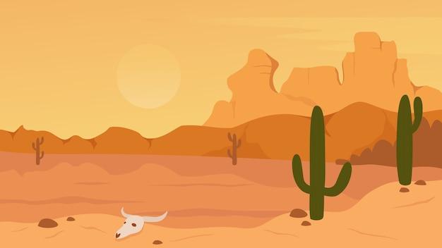 メキシコ、テキサス、またはアリゾナ砂漠の自然の風景イラスト