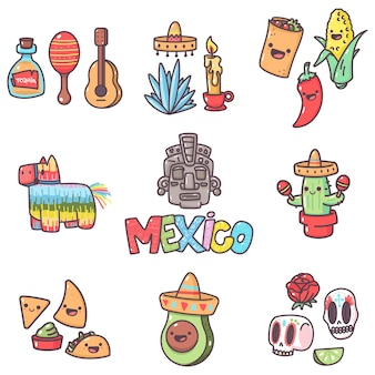 Mexican tradition elements with cute emotions for party