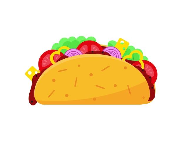 멕시코 전통 음식 벡터 일러스트 레이 션 흰색 바탕에 타코 아이콘