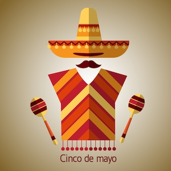 Mexican Traditional Clothes Sombrero Maraca