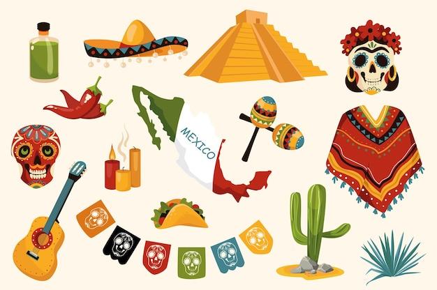 Набор мексиканских традиционных элементов дизайна. коллекция текилы, сомбреро, черепа, пончо, гитары, свечей, кактуса, маракасов, кантри, пирамиды. векторная иллюстрация изолированные объекты в плоском мультяшном стиле