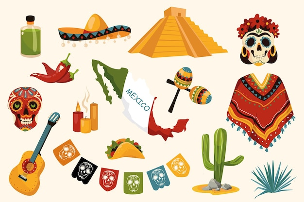 Mexican traditional design elements set. collection of tequila, sombrero, skull, poncho, guitar, candles, cactus, maracas, country, pyramid. vector illustration isolated objects in flat cartoon style