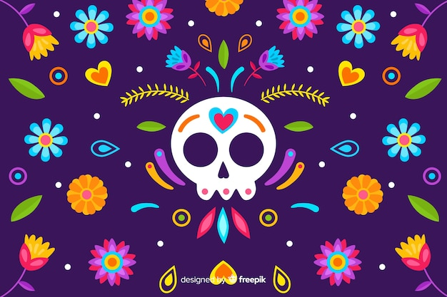 Mexican traditional floral embroidery background