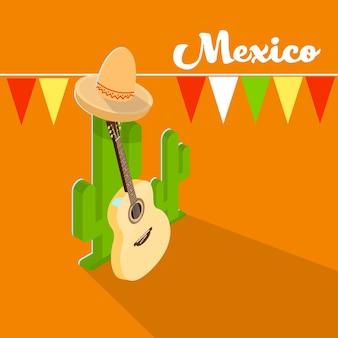 Mexican traditional hat sombrero guitar mexico cactus