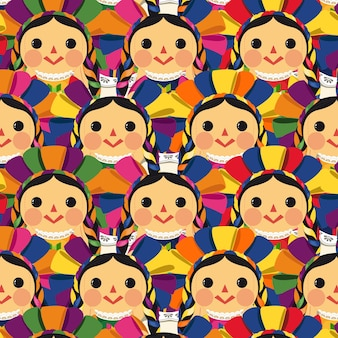 Mexican traditional maria doll pattern