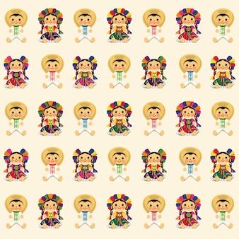 メキシコの伝統的なマリア人形のパターン