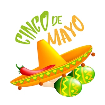 Mexican traditional sombrero hat with red chili pepper on it and green maracas. illustration for 5th of may cinco de mayo holiday isolated