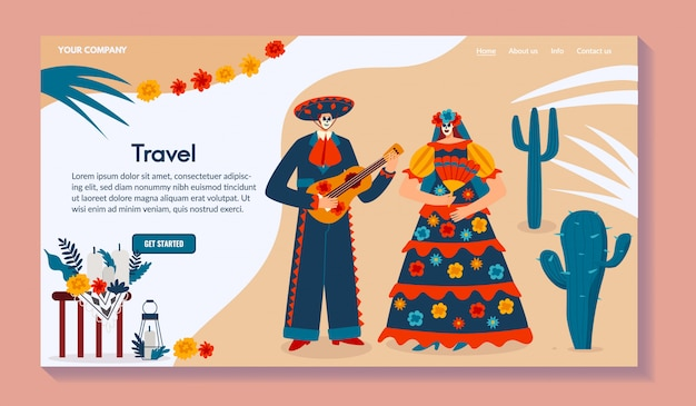 Мексиканская сеть перемещения, мужчина характера с гитарой, женщина в традиционном костюме, иллюстрация. для сайта.