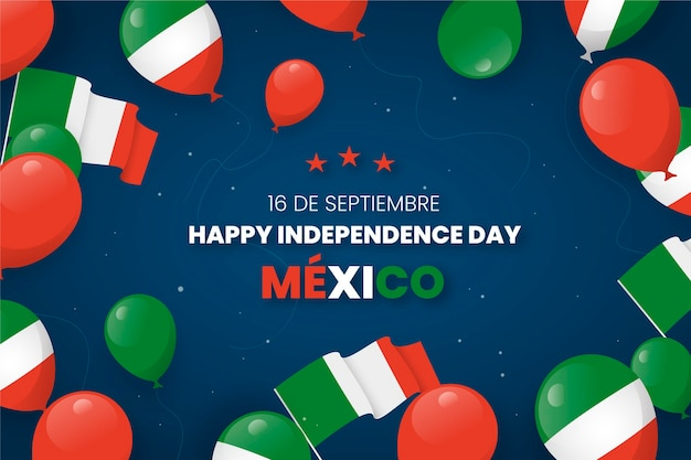 Mexican war of independence background with balloons