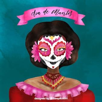 Мексиканский акварельный фон катрины