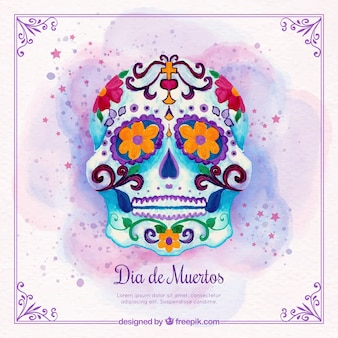 Mexican watercolor decorative skull background