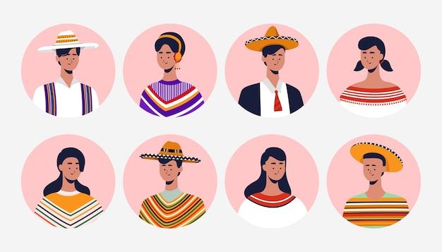 メキシコは、独立記念日を祝うために伝統的な服を着ています。アバターデザインメキシコのテーマ。フラットの図。