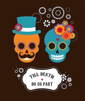 Mexican wedding invitation with two hipster skulls