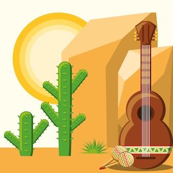 サボテンの風景の背景と砂漠の上にギターとメキシコ