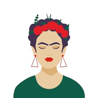 머리에 꽃 화 환을 가진 멕시코 여자