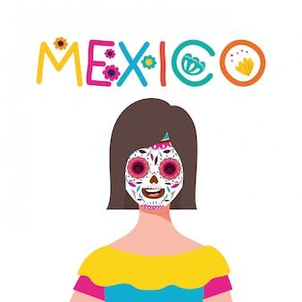 頭蓋骨顔デザイン、メキシコ文化観光ランドマークラテンパーティーテーマベクトルイラストとメキシコの女性