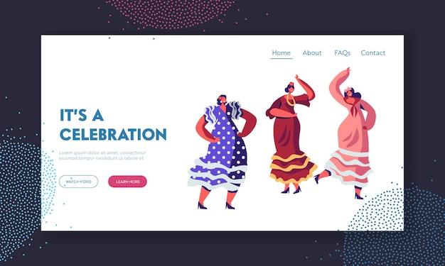 シンコデマヨフェスティバルやスペインの妖精で踊る伝統的なカラフルなドレスを着たメキシコ人女性。ウェブサイトのランディングページテンプレート