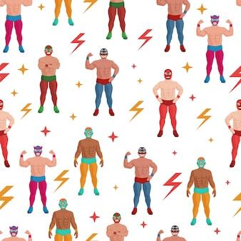 Мексиканский борец в костюме и маске бесшовные модели. сильный мускулистый борцовский борцов луча либре, спортсмен и спортсмен, демонстрирующий мышечную силу, повторяющийся дизайн обоев, векторная иллюстрация